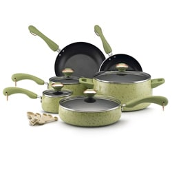 Paula Deen Collection Porcelain Nonstick 15-piece Set, Green Speckle with $20 Mail-in Rebate