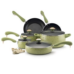 Paula Deen Collection Porcelain Nonstick 15-piece Set, Green Speckle