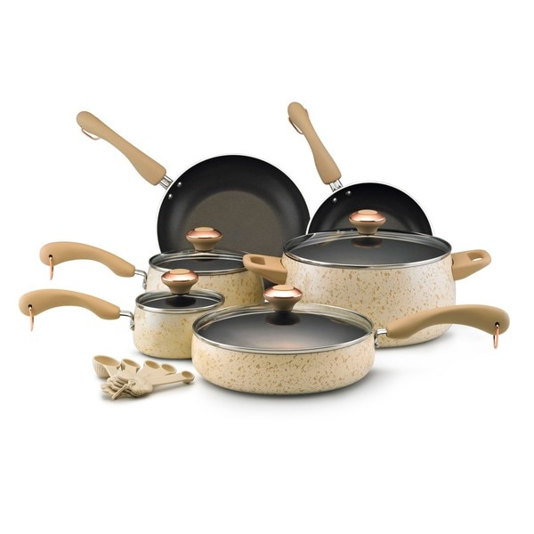 Paula Deen Nonstick Oatmeal Speckle 15-piece Cookware Set