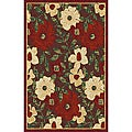 Woven 'LaRana' Red Viscose Accent Rug (3'3 x 4'7)