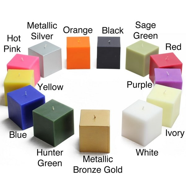 3- x 3-inch Square Pillar Candles (Pack of 12)