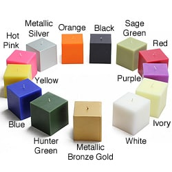 3 x 3-inch Square Pillar Candles (Pack of 12)