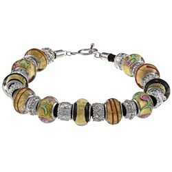 La Preciosa Silvertone Multi-colored Glass Bead Leather Bracelet