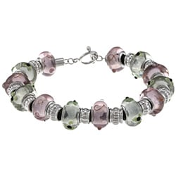 La Preciosa Silvertone Pink and Green Glass Bead Leather Bracelet