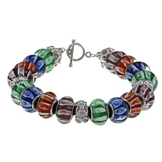 La Preciosa Silvertone Multi-colored Glass Bead Leather Bracelet