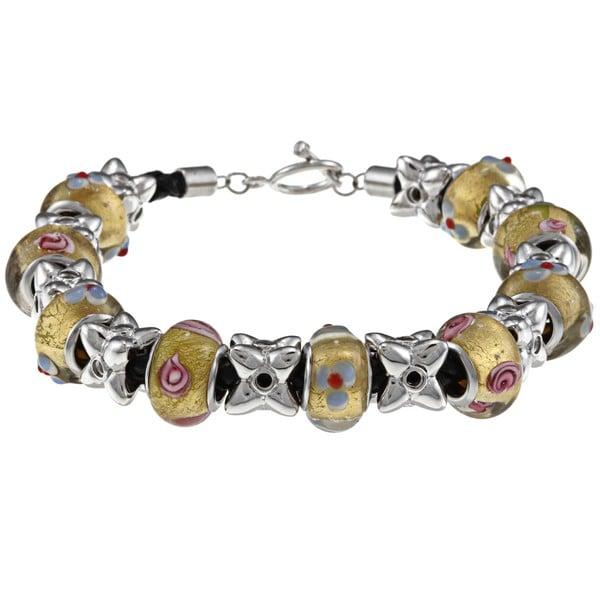 La Preciosa Silvertone Yellow Glass Bead Leather Bracelet La Preciosa Crystal, Glass & Bead Bracelets