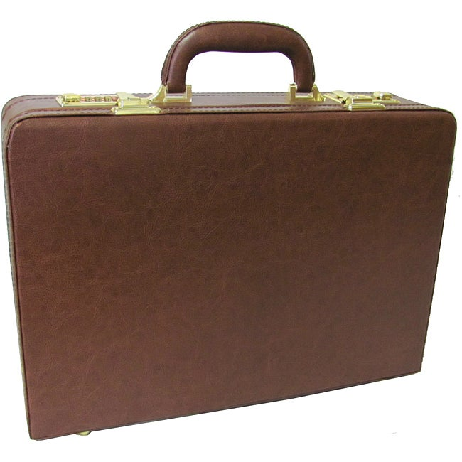 Amerileather Brown Expandable Executive Faux Leather Attache Briefcase