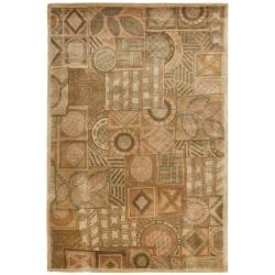 Safavieh Handmade Plaid Beige Wool Rug (7'6 x 9'6)