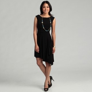 London Times Woman's Sleeveless Side Ruche Back Lace Dress