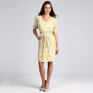 London Times Women's Yellow/ Grey Floral Dress