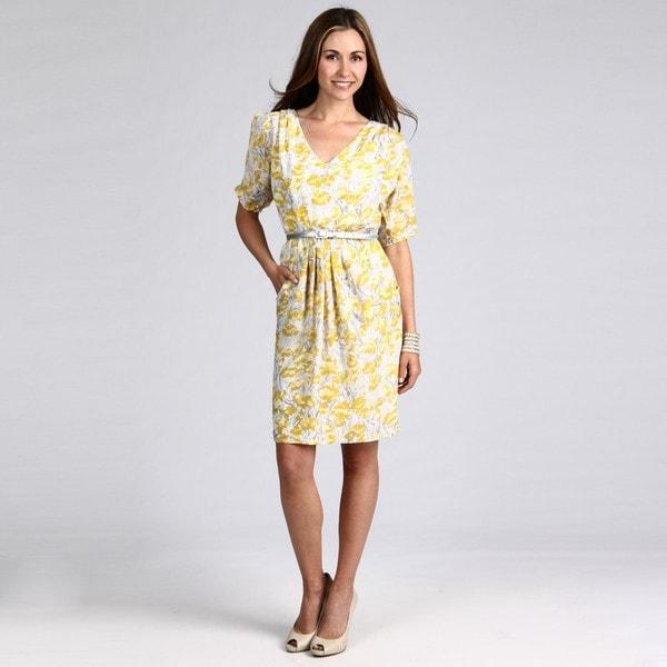 London Times Women's Yellow/ Grey Floral Dress