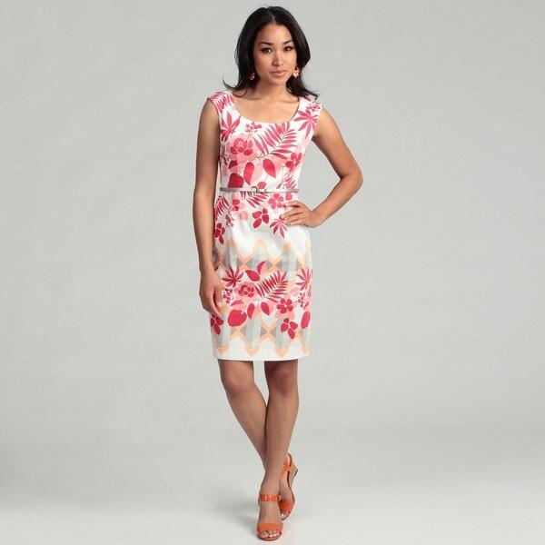 London Times Women's Floral Printed Sheath Dress