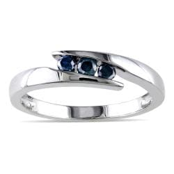 Miadora Sterling Silver 1/5ct TDW Blue Round-cut Diamond Ring