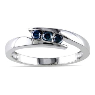 Haylee Jewels Sterling Silver 1/5ct TDW Blue Round-cut Diamond Ring