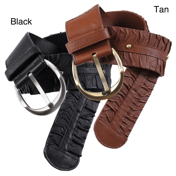 Chinese Laundry Women's Brushed Buckle Ruched Detail Belt