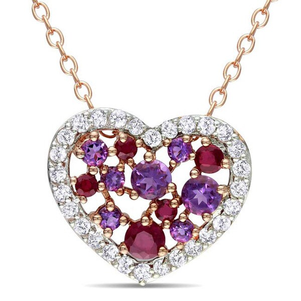 Miadora Pink Silver 1 3/4ct TGW Multi-colored Topaz Heart Necklace