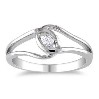 M by Miadora Highly Polished Sterling Silver 1/10ct TDW Diamond Promise Ring (H-I, I2-I3) with Bonus Earrings