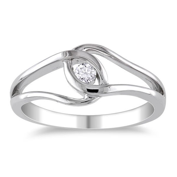 Miadora High Polish Sterling Silver 1/10ct TDW Diamond Promise Ring (H-I, I2-I3)