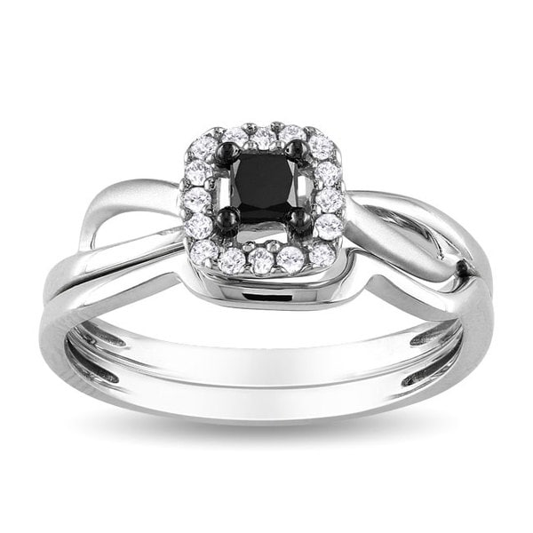 Miadora 10k White Gold 1/3ct TDW Black and White Diamond Bridal Ring Set 8727181