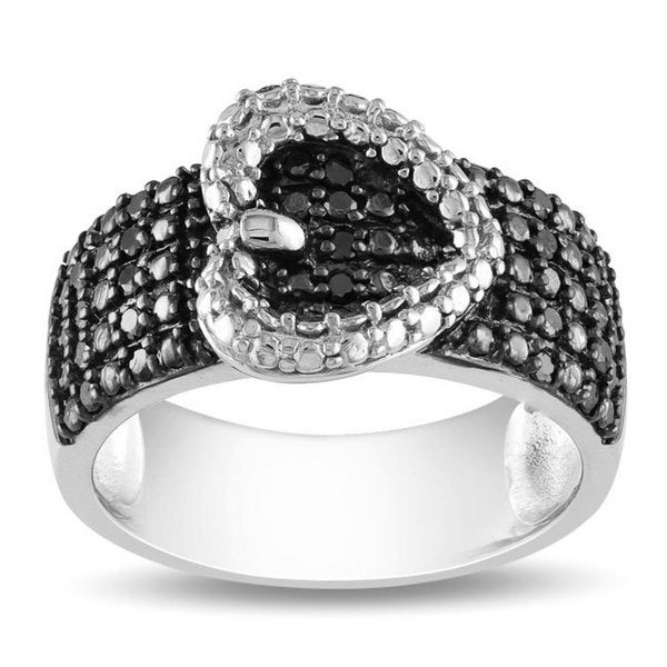 Haylee Jewels Sterling Silver 1/4ct TDW Black Diamond Heart Buckle Ring