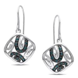 Miadora Sterling Silver 1/6ct TDW Blue Diamond Hook Dangle Earrings