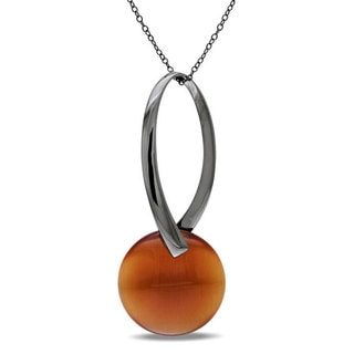 M by Miadora Black Rhodium-plated Sterling Silver Coffee Synthetic Cat's Eye Necklace