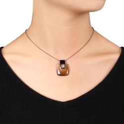 Miadora Black Rhodium-plated Sterling Silver Coffee Synthetic Cat's Eye Necklace
