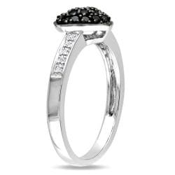 Miadora Sterling Silver 1/3ct TDW Black and White Diamond Ring (H-I, I3)