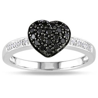 M by Miadora Sterling Silver 1/3ct TDW Black and White Diamond Ring (H-I, I3)