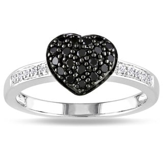M by Miadora Sterling Silver 1/3ct TDW Black and White Diamond Ring (H-I, I3) with Bonus Earrings
