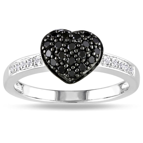 Haylee Jewels Sterling Silver 1/3ct TDW Black and White Diamond Ring (H-I, I3)