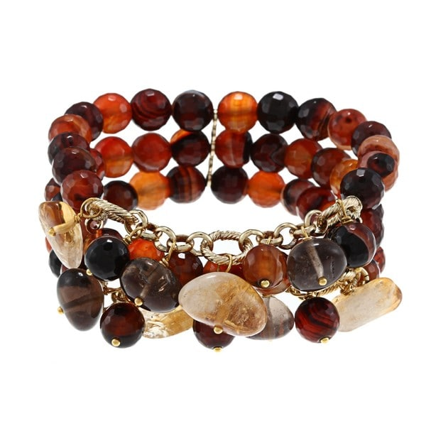 Miadora Brass 300ct TGW Multi-gemstone Bead 3-row Stretch Bracelet 8727217