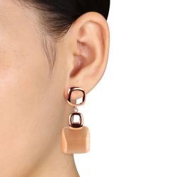 Miadora Sterling Silver Synthetic Champagne Cat's Eye Dangle Earrings