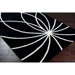 Hand-tufted Contemporary Black/White Cascade Wool Abstract Rug (12' x 15')