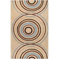 Hand-tufted Beige Contemporary Circles Cayoosh Wool Geometric Rug (12' x 15')