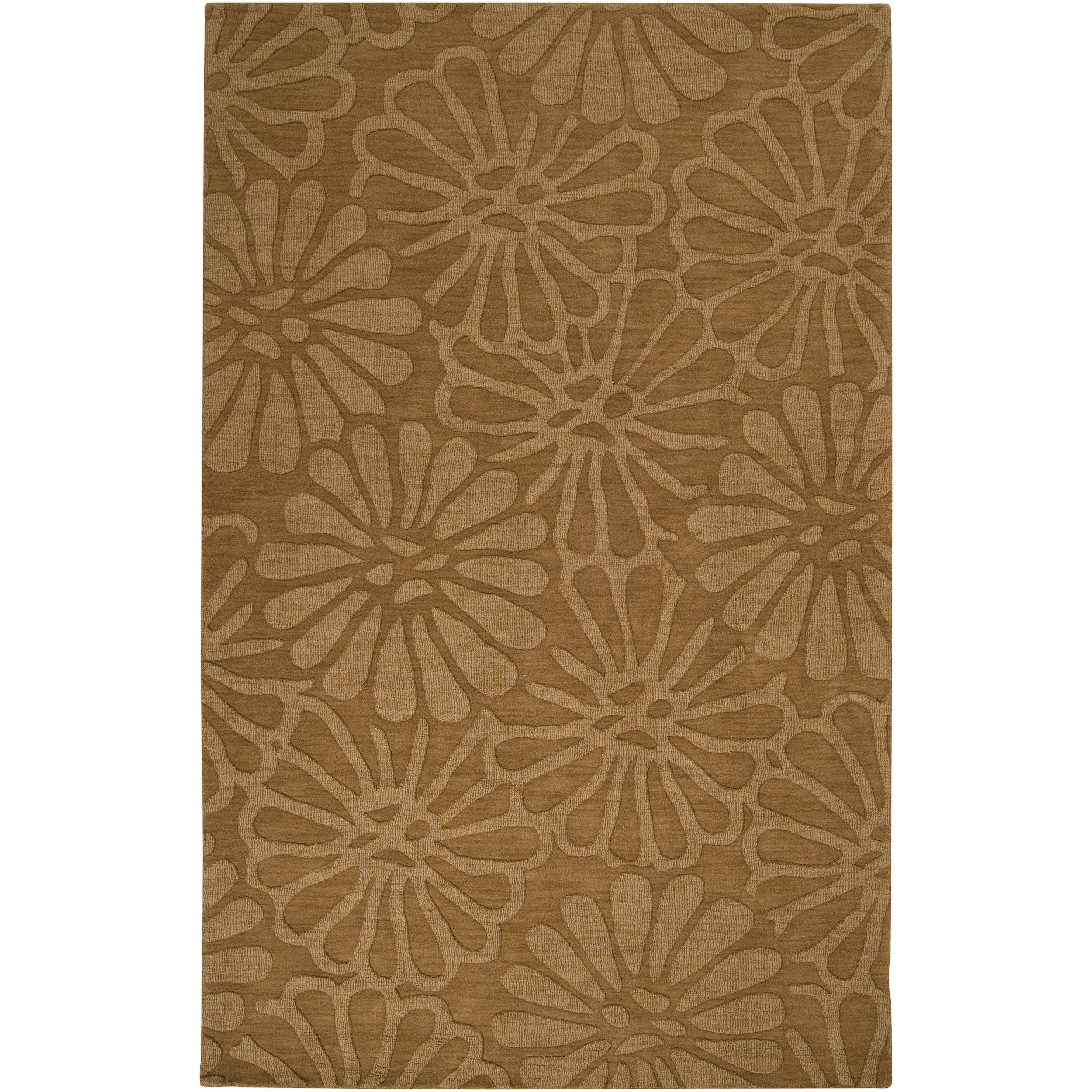 Hand-crafted Solid Beige Floral Haraz Wool Rug (5' x 8')
