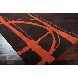 Noah Packard Hand-tufted Brown/Orange Contemporary Bernina New Zealand Wool Abstract Rug (5' x 8')