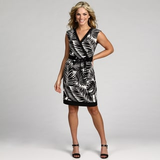 London Times Women's Soft White/ Black Dress