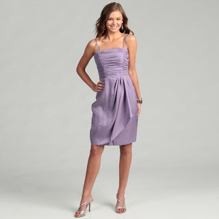 London Times Women's Purple Lotus Ruched Dress