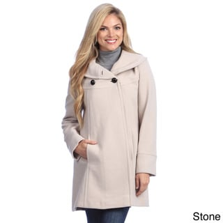 Larry Levine Black Stone Shawl Collar Plush Wool Coat