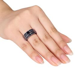 Miadora Sterling Silver 1ct TDW Black Diamond 3-Piece Ring Set