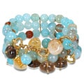 Miadora Brass 300ct TGW Multi-gemstone Bead 3-row Stretch Bracelet