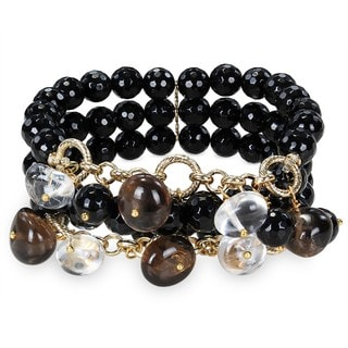 M by Miadora Brass 300ct TGW Multi-gemstone Bead 3-row Stretch Bracelet
