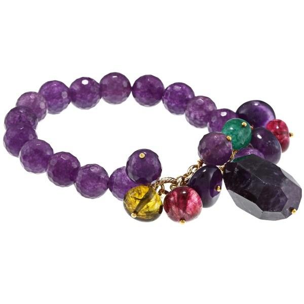 M by Miadora Brass 200ct TGW Multi-gemstone Bead Single-row Stretch Bracelet