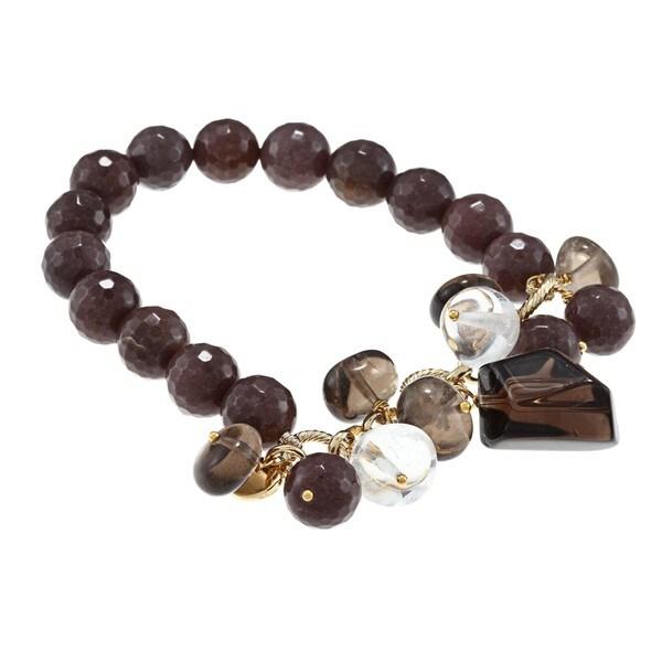 M by Miadora Brass 200ct TGW Multi-gemstones Beads Single-row Stretch Bracelet