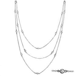 Sterling Silver Genuine White Topaz Station Necklace