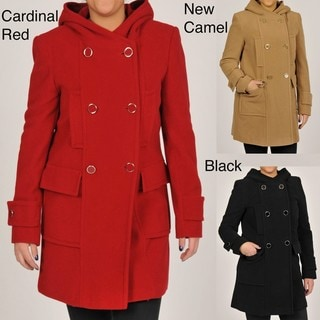 Larry Levine Women's Double-Breasted Hooded Wool Coat