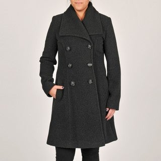 Larry Levine Charcoal Double-Breasted Wing Collar Wool Coat