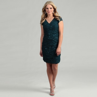 Scarlett Women's Teal Short-sleeve Sequined Dress
