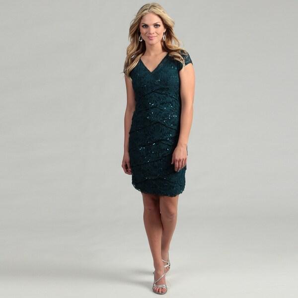 Scarlett Women's Teal Short-sleeve Sequined Dress